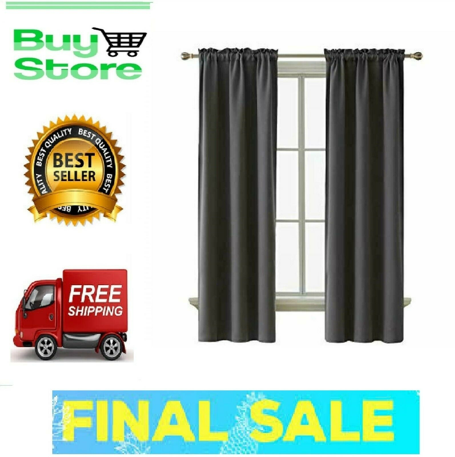 Curtains Thermal Insulated Blackout Living Room Darkening Ro