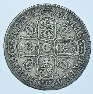 SCARCE 1668/4 HALFCROWN, 8 OVER 4, BRITISH SILVER COIN FROM CHARLES II aF/F