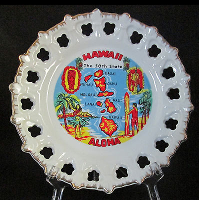 Hawaii 50th State Souvenir Collector Plate Reticulated White Gold Made In Korea