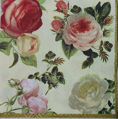 ROSES MULTICOLOR 2 single LUNCH SIZE paper napkins for decoupage 3-ply
