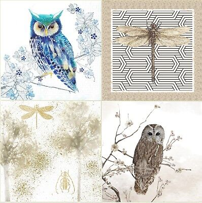4 Vintage Table Paper Napkins for Party Lunch Decoupage Mix Animals Owl Designs