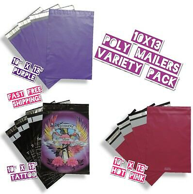 60 Poly Mailers 10x13 Mix Variety Pack 20 Ea