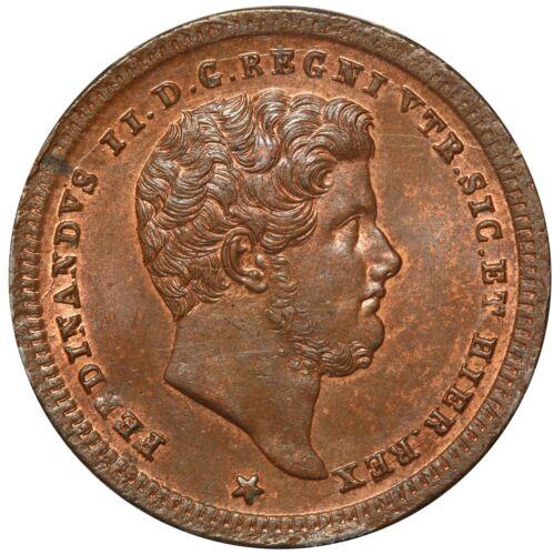 1843 Italy Naples & Sicily 2 Tornesi Coin - PCGS MS 64 BN - KM# 327 - TOP POP-1