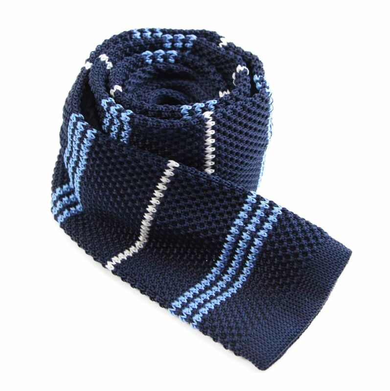 Mens Knitted Navy, White, Light Blue Striped Patterned Neck Tie