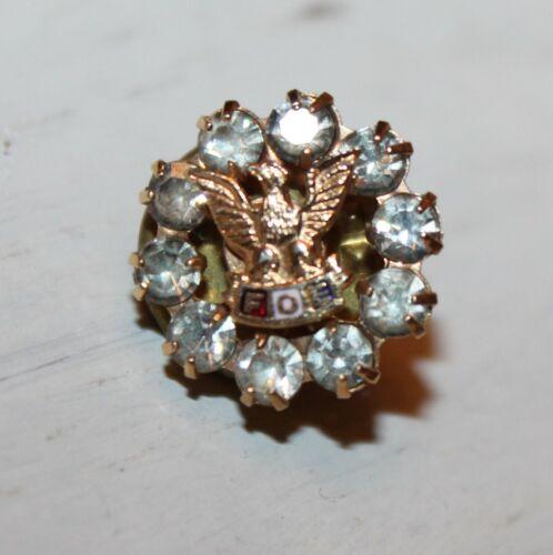 Vintage Fraternal Order of Eagles Rhinestone Lapel Pin - F.O.E Organization Pin