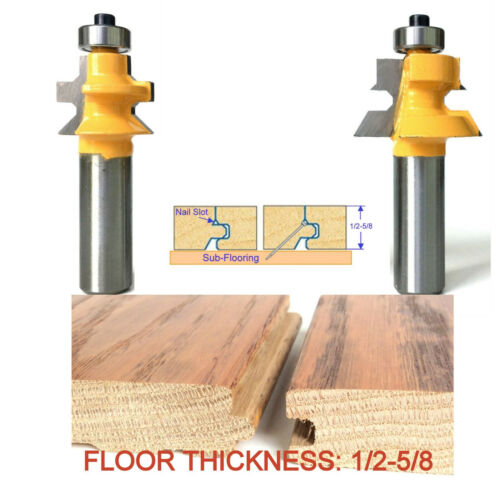 """2 pc 1/2"""" shank Wood 1/2""""-5/8"""" Floor with Nail Slot Router Bit Set sct-888"""