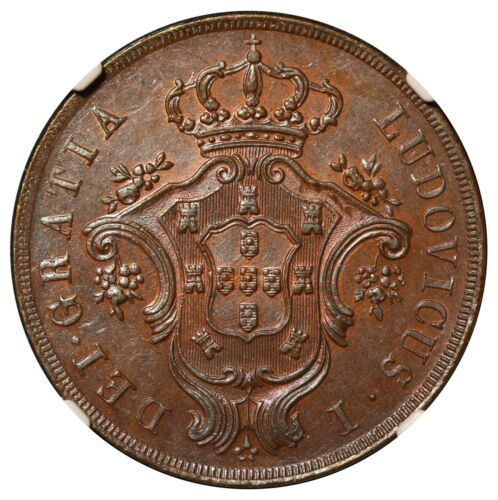 1865 Azores 20 Reis Copper Coin - NGC MS 64 BN - KM# 15
