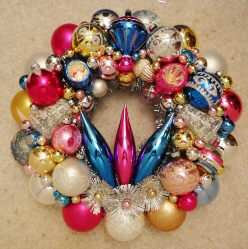 """Vintage Glass Christmas Ornament Wreath Hand Made 15"""" Blue Pink Gold White (172)"""
