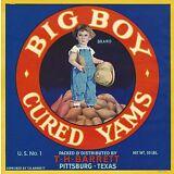 "RARE OLD ORIGINAL 1929 ""BIG BOY BRAND"" YAM CRATE LABEL (BARRETT) PITTSBURG TEXAS"