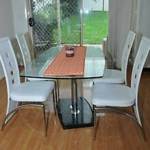 Glass Dinning Table with 4 White Chairs Greystanes Parramatta Area Preview