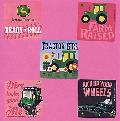 10 John Deere Pink - Tractor Girl - Large Stickers - Party Favors
