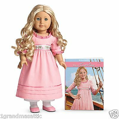 American Girl Caroline Doll And Book Paperback & 18 Inch Fast Shipping