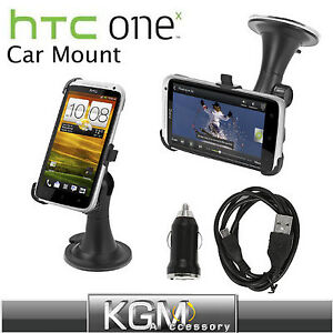 Windscreen Mount Suction Holder Cradle + Micro USB Car Charger Kit for HTC One X