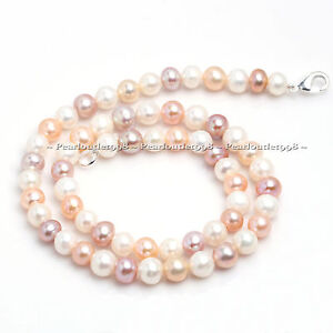 A+ GRADE GENUINE MULTICOLOR CULTURED FRESHWATER PEARL NECKLACE WHITE PINK PURPLE