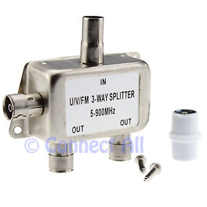 3 WAY TV SPLITTER CABLE AERIAL FOR AMPLIFIER BOOSTER