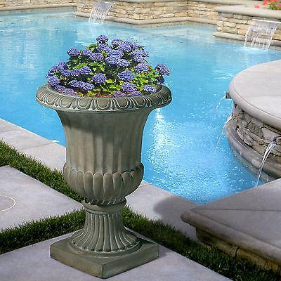 """25"""" Tall Aged Green Stone Decor Outdoor Garden Urn Planter / Flowers Pot"""