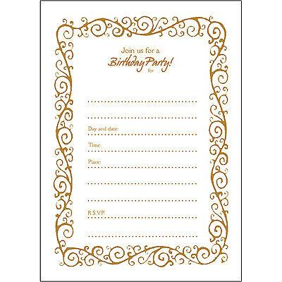 20 - 50th Birthday Party Invitations Fill-ins - BPFI-010 Decorative Border Gold](50th Birthday Party Invitations)