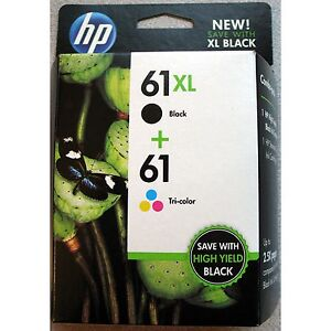 2-PACK HP GENUINE 61XL Black & 61 Tri-Color Ink (RETAIL BOX) (CZ138FN) 3050