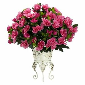 Decorative-Natural-Looking-Artificial-Pink-Azalea-Metal-Planter-Silk-Faux-Plants
