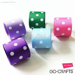 1-5-2-5-10-25-50-100yd-multi-color-Polka-Dot-grosgrain-ribbon-u-pick-up-choose