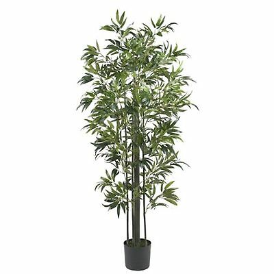 Decorative Natural Looking Artificial Asian 6' Bamboo Silk Tree Green Faux Plant