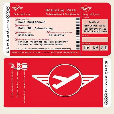 50 Einladungskarten für Geburtstag Flugticket Ticket Party Einladungen 60 30 40 ()