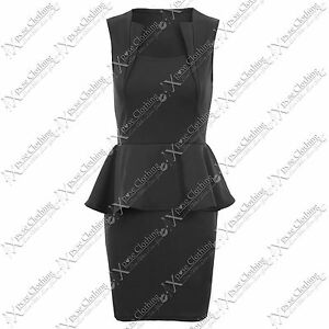 WOMENS LADIES SQUARE SHAPED NECK BODYCON DRESS BLACK DRESSES PENCIL SKIRT TOPS