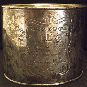 VINTAGE-ENGRAVED-SILVERPLATED-ENGLISH-BREAKFAST-OVAL-TEA-CANISTER-CADDY-WITH-LID