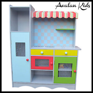 WOODEN KIDS KITCHEN PRETEND PASTEL COLOUR PLAY TODDLERS KITCHEN TOY KITCHEN