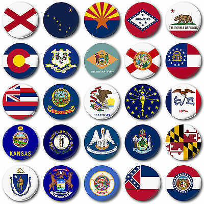 "USA STATE FLAGS (A to M) 25mm, 1"" Button Badge, American, Florida, California"