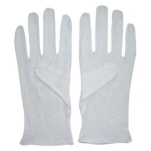 12 Pairs White Inspection Gloves Poly Cotton Brand New Coin, Beauty, Dust, Photo
