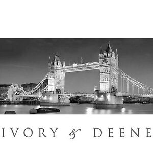 HUGE LONDON TOWER BRIDGE Black & White Wall Canvas Print LARGE NEW Home Art Boat