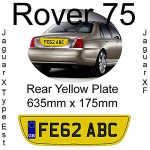 Rover-75-Jaguar-X-Type-Est-Jaguar-XF-Rear-Yellow-Shaped-Number-Plate