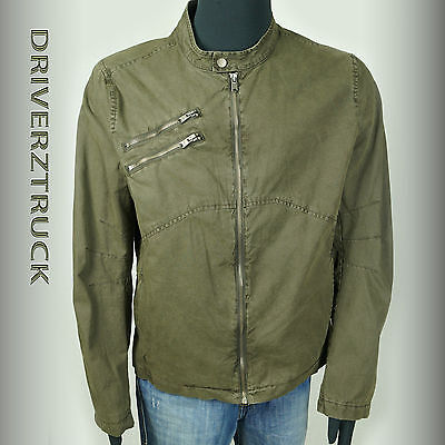 Marc Anthony Men's X-large Olive Green Jacket Canvas Zipper Accents Coat
