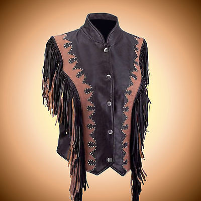 Ladies SOLID LEATHER Brown Fringed Biker Vest--Ladies Size 2XL--Soft and Sexy