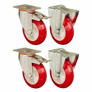 Set of 4 - 150mm Polyurethane Wheels Castors plate fitting Casters Heavy Duty