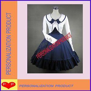 Sweet-gothic-lolita-stunning-lace-blue-dress-cape-2pc