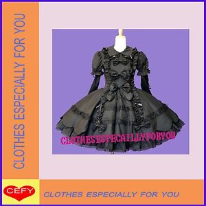 Sweet-gothic-lolita-stunning-black-cute-bows-lace-dress