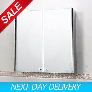 Double-door-Stainless-Steel-Wall-Mirror-Storage-Cupboard-Bathroom-Cabinet-7007