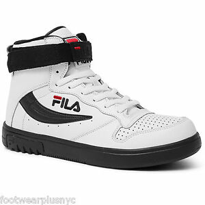 Mens-Fila-FX-100-SL-Hi-Top-Lifestyle-Shoe-in-Wht-Blk-Jred-1VB90002-109