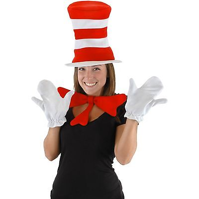 DR. SEUSS CAT IN THE HAT ADULT COSTUME KIT SET HAT RED BOW TIE WHITE GLOVES