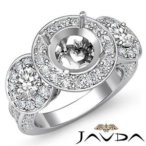 3 Stone Diamond Engagement 1.3Ct 14k White Gold Round Semi Mount Pre-Set Ring
