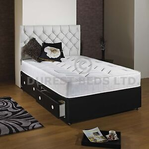 3ft 4ft6 Double 5ft King Size Faux Leather Divan Bed Mattress Quilted Ebay