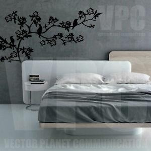 Wall sticker ramo fiori uccelli natura per camera letto - Wall stickers camera da letto ...