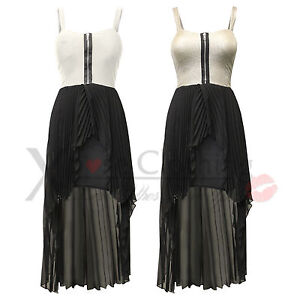 WOMENS-LADIES-ZIP-BRA-TOP-CHIFFON-PLEAT-SKIRT-DRESSES-TAIL-BACK-MAXI-DRESS-LONG