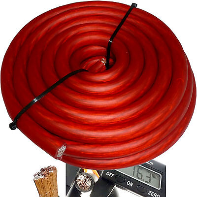 20' ft 0 Gauge Red Car Audio Power Ground Wire Cable 20 Feet Zero AWG USA Ship on Rummage