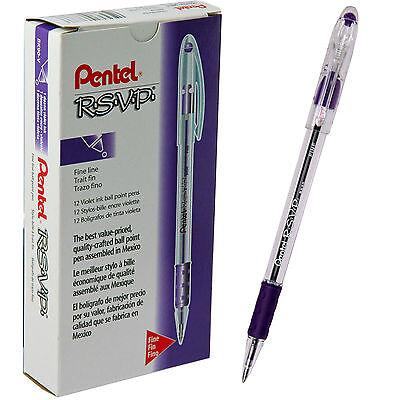 Box Of 12 Violet Fine Point Bk90v Bk90-v Pentel Rsvp Ball Point Pens