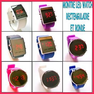 Montre miroir led watch rectangulaire et ronde blanc noir for Miroir rectangulaire noir