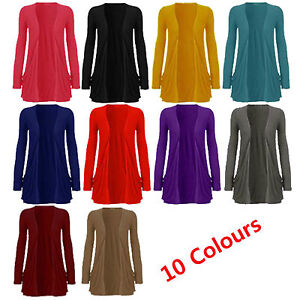 New-Ladies-Pocket-Long-Sleeve-Cardigan-Womens-Top-Size-8-10-12-14