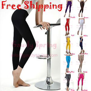 Soft-Stretch-Seamless-Under-Knee-Footless-Stocking-Pants-Tights-Capri-Leggings